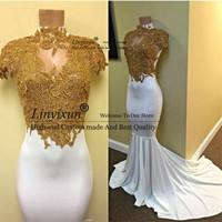 Gold Lace Appliques Mermaid Evening Dress High Neck Cap Sleeve White Long Prom Dresses Formal Party Special Occasion Gown Custom