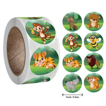 50-500pcs zoo Animals cartoon naklejki dla dzieci klasyczne zabawki naklejki school teacher naklejka używana jako nagroda 8 wzorów wzór tiger tanie i dobre opinie jadime CN (pochodzenie) QY725 6 lat 3 lata 8 lat Round Papier 1inch 2 5cm Envelope Seals bakery Crafts Wedding