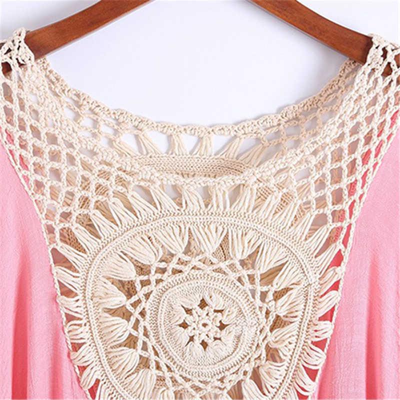 Богемные женские летние пляжные купальники рубашка бикини блузка рукав летучая мышь выдалбливают вышивка кружевное кимоно кардиганы, блузы