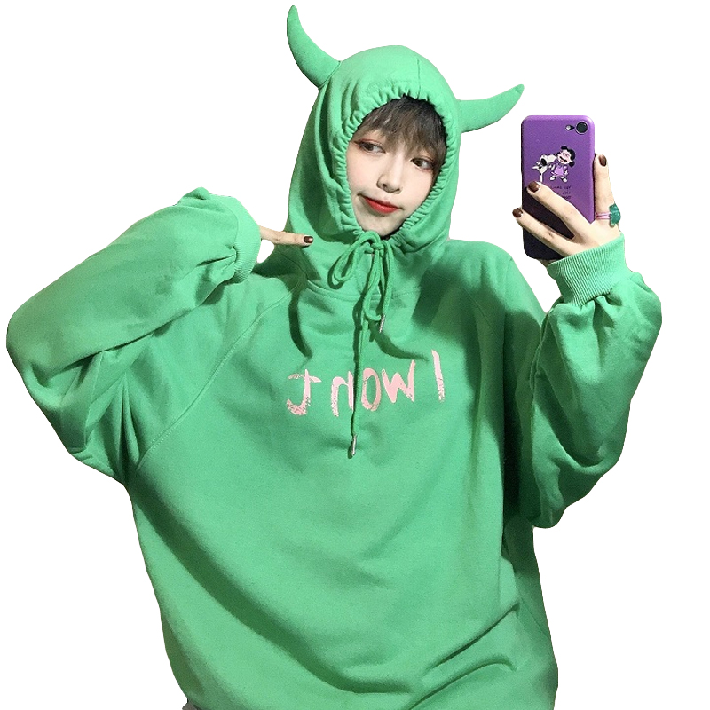 Harajuku Devil Hoodies Women Loose Long Sleeve Cute Rabbits Print Top Sweatshirt Streetwear Fashion Korean Hoodie Female Autumn
