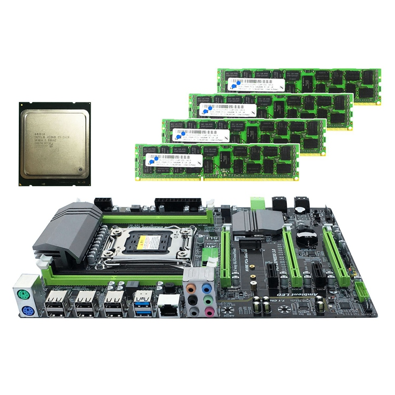 X79 Motherboard LGA2011 Combo with E5 2620 CPU 4 Ch 16GB(4X4GB)DDR3 RAM 1333Mhz NVME M.2 SSD Slot RAMs     - title=