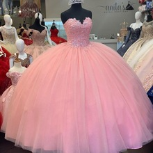 Ball-Gown Quinceanera-Dress Sweetheart Pink 15-Years Lace with Beadings for Girls Lovely