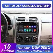 Eunavi 2 din Android 10 TDA7851 araç dvd oynatıcı multimedya Toyota Corolla 2007 2008 2009 2010 2011 GPS stereo radyo PC dokunmatik ekran