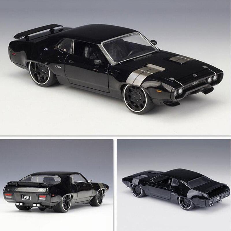 22CM 1:24 échelle métal alliage 1972 DOM'S PLYMOUTH GTX voiture de course rapide modèle moulé sous pression véhicules jouet F enfants Collection