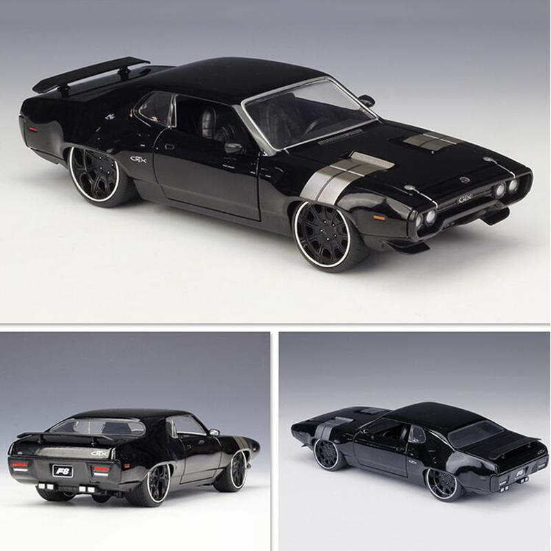 22CM 1:24 Scale Metal Alloy 1972 DOM'S PLYMOUTH GTX Fast  Racing Car Model Diecast Vehicles Toy F Children Collection
