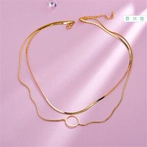 HUANZHI 2019 корейские новые геометрические круглые двухслойный чокер широкие ожерелья-цепочки для женщин девушек вечерние подарки простые ювелирные изделия