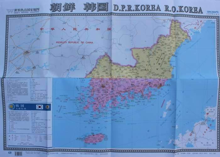 North Korea South Korea World Hot Countries Map North Korea South Korea Tourist Attractions Ports Atlas Chinese and English image