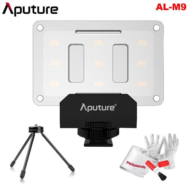 Aputure أماران AL M9 CRI95 + Mini LED الفيديو الضوئي على الكاميرا ملء ضوء مع حامل ضوء ترايبود صغير ومجموعة تنظيف Pergear