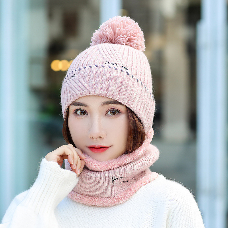 Winter Wool Hat And Scarf For Women Girls Warm Knitted Scarf Hat Set For Girls Warm Women's Hat