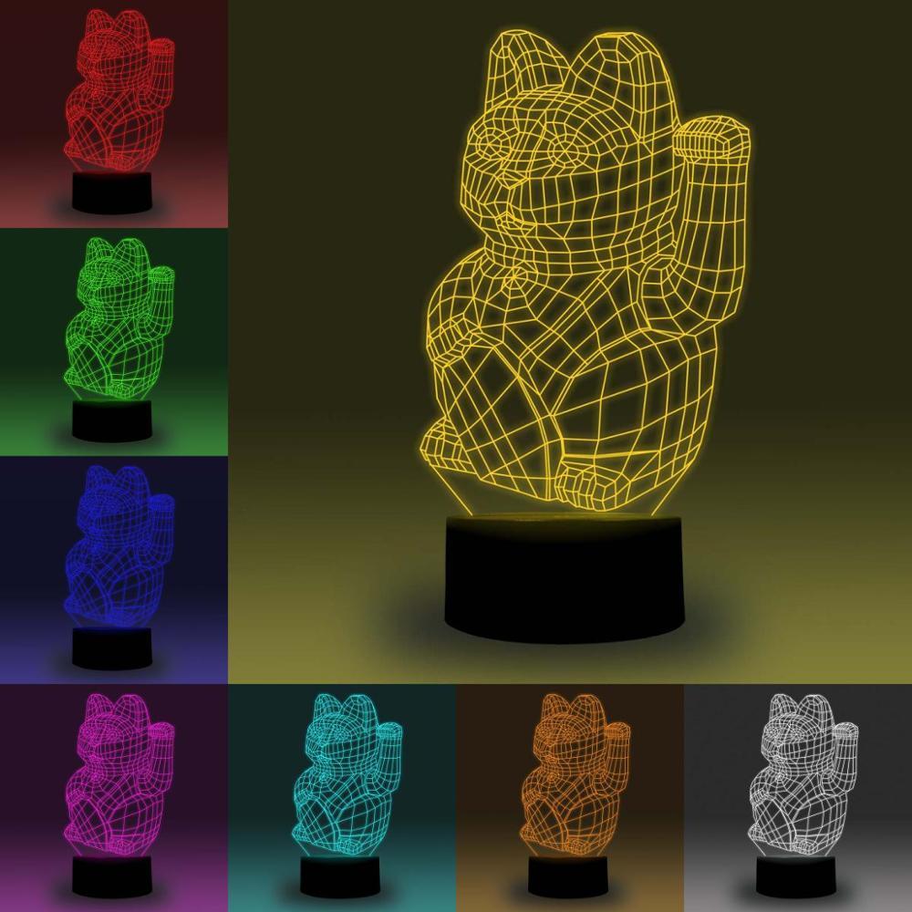 NiteApps 3D Maneki Neko/Lucky Cat RGB LED Night Light Desk Table Illusion Lamp Holiday Birthday Gift APP/Touch Control
