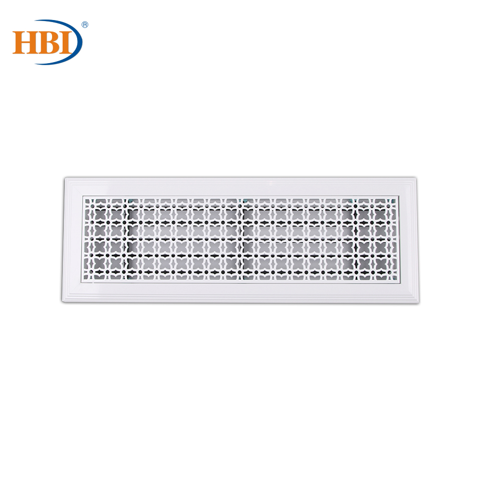 500mm X 150mm Pattern- Full Blown Flowers  Rectangular Plastic Frame Steel Decorative Air Grille Vent Retro Outlet White
