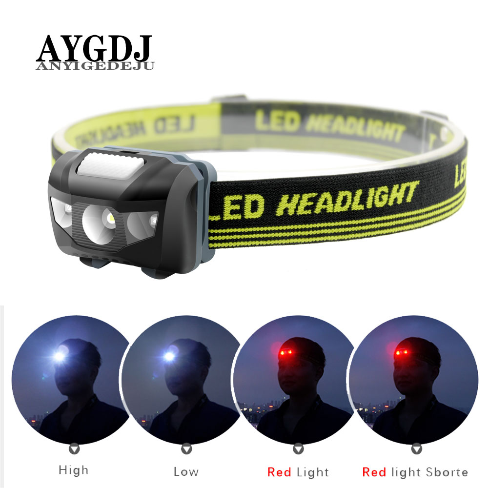 ANYIGE Mini Head Lamp 4 Mode Waterproof 600Lm R3+2 LED Flashlight Super Bright Headlight Headlamp Torch Lanterna Use AAA Battery