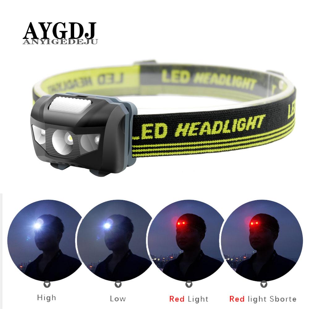 ANYIGE Mini Head Lamp 4 Mode Waterproof 600Lm R3+2 LED Flashlight Super Bright Headlight Headlamp Torch Lanterna Use AAA Battery