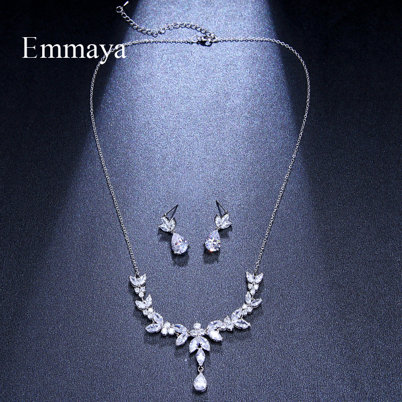 Image 2 - Emmaya Vivid Leaves shape Dazzling Wedding Costume Accessories CZ Crystal Colorful Gift Earrings And Necklace Jewelry SetsBridal Jewelry Sets   -
