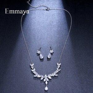 Image 2 - Emmaya accessoires de Costume de mariage en forme de feuilles vives et éblouissantes, ensembles de bijoux boucles doreilles et collier, cristal CZ coloré, cadeau