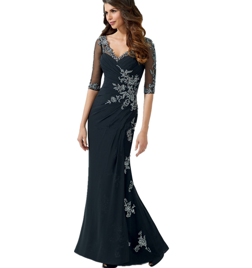 Hot Beautiful Summer Regular Chiffon V-Neck Mermaid Mother Of The Bride Dresses 2015 Navy Blue Beading Elegant Prom Party Dress