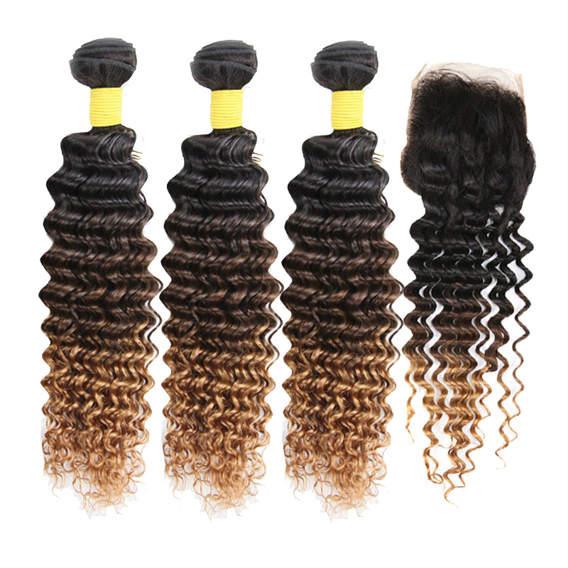 Ombre 100% Human Hair Deep Wave Bundles With Closure Weave  T1B 4 30 Remy Peruvian Hair Bundles With Closure 3 Hair Extensions