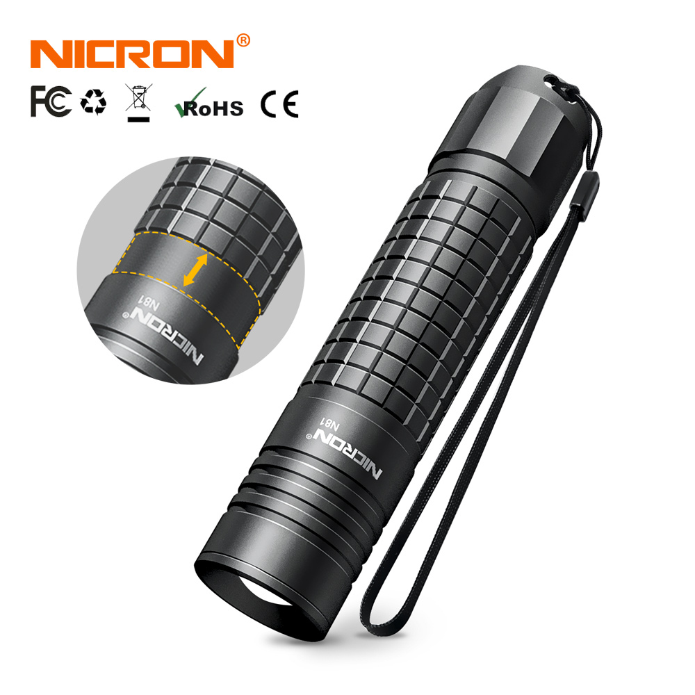 NICRON Zoomable LED Flashlight Dual Fuel 18650 / AA Battery 700LM IPX4 Waterproof 5 Modes For Riding Outdoor LED Torch Light N81(China)