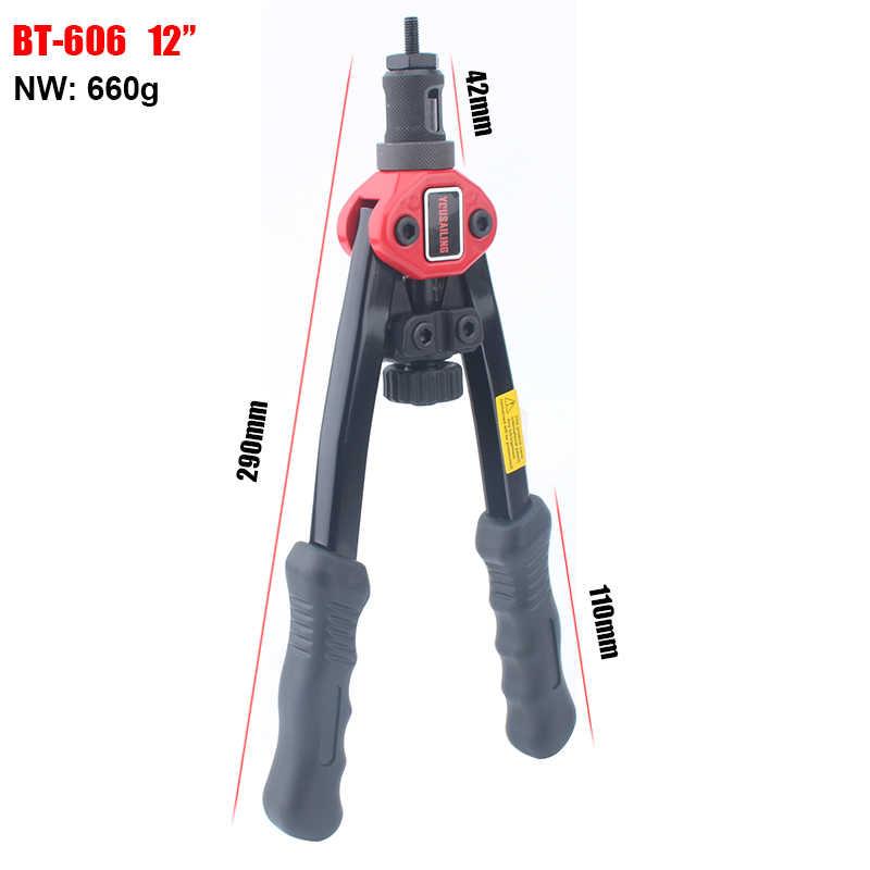 """Yousailing rebitador porca armas rebite automático tool12 """"BT-606 rebitador porca ferramenta de inserção mão porca rebite manual mandrels m3 m4 m5 m6 m8"""