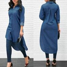 Long Fashion Women Denim Shirt Long Sleeve Loose Blouse Lady Fashion Casual Jean Blouse Shirt Summer Tops Denim Shirt  - buy with discount