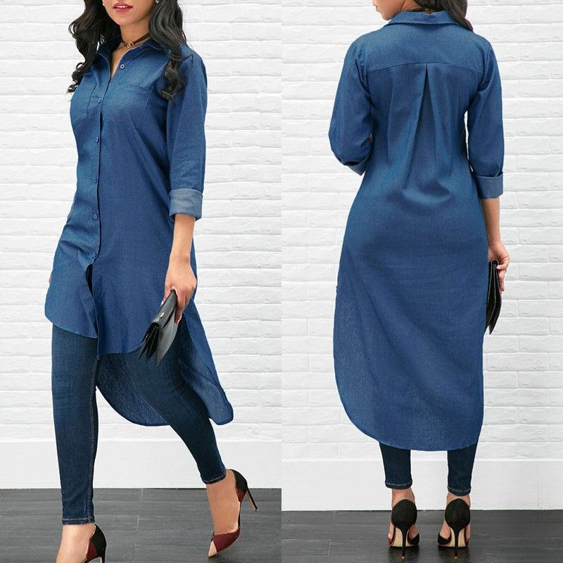 Long Fashion Women Denim Shirt Long Sleeve Loose Blouse Lady Fashion Casual Jean Blouse Shirt Summer Tops Denim Shirt