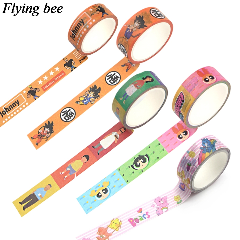 Flyingbee 10 Styles 15mmX5m Cartoon Cute  Washi Tape Paper DIY Decorative Adhesive Tape Kawaii Masking Tapes X0754