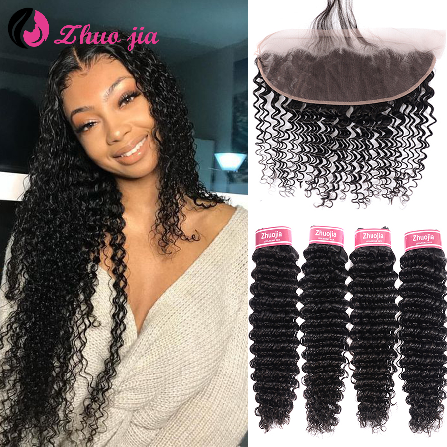ZHUO JIA Deep Wave Bundles With Frontal Brazilian Hair 13x4 Remy Curly Human Hair 4 Bundles With Frontal Hair Extensions