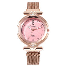 Women watch Elegant Lady Adjustable Lazy Magnet Buckle Analog Wristwatch Milan With Ladies Personality Net Red Quartz Watches(China)