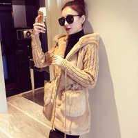 Kobiety kurtki z kapturem ciepłe luźne dzianiny pluszowe Zipper płaszcze zimowe gruba odzież wierzchnia płaszcz panie płaszcze casualowe kieszeń