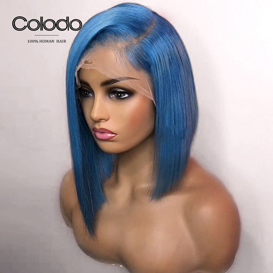 COLODO Blue Human Hair Short Bob Wigs For Black Women 150Density 13x4 Brazilian Remy Hair 613 Lace Front Wig Preplucked Hairline