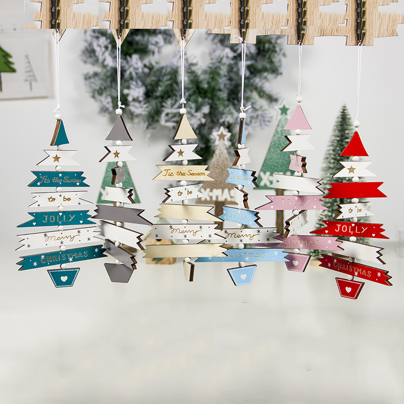 Creative Wooden Craft Letters Home Decorations Christmas Merry 2020 Mini Tree Decoration Charm