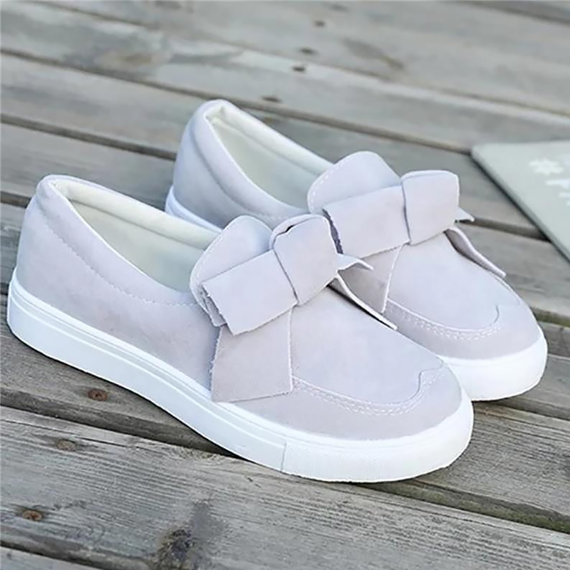 Women's Sneakers Beautiful Bow-knot Suede Slip On Flat With Shoes Woman Cozy Plus Size 43 Antiskid Casual Sneakers Female