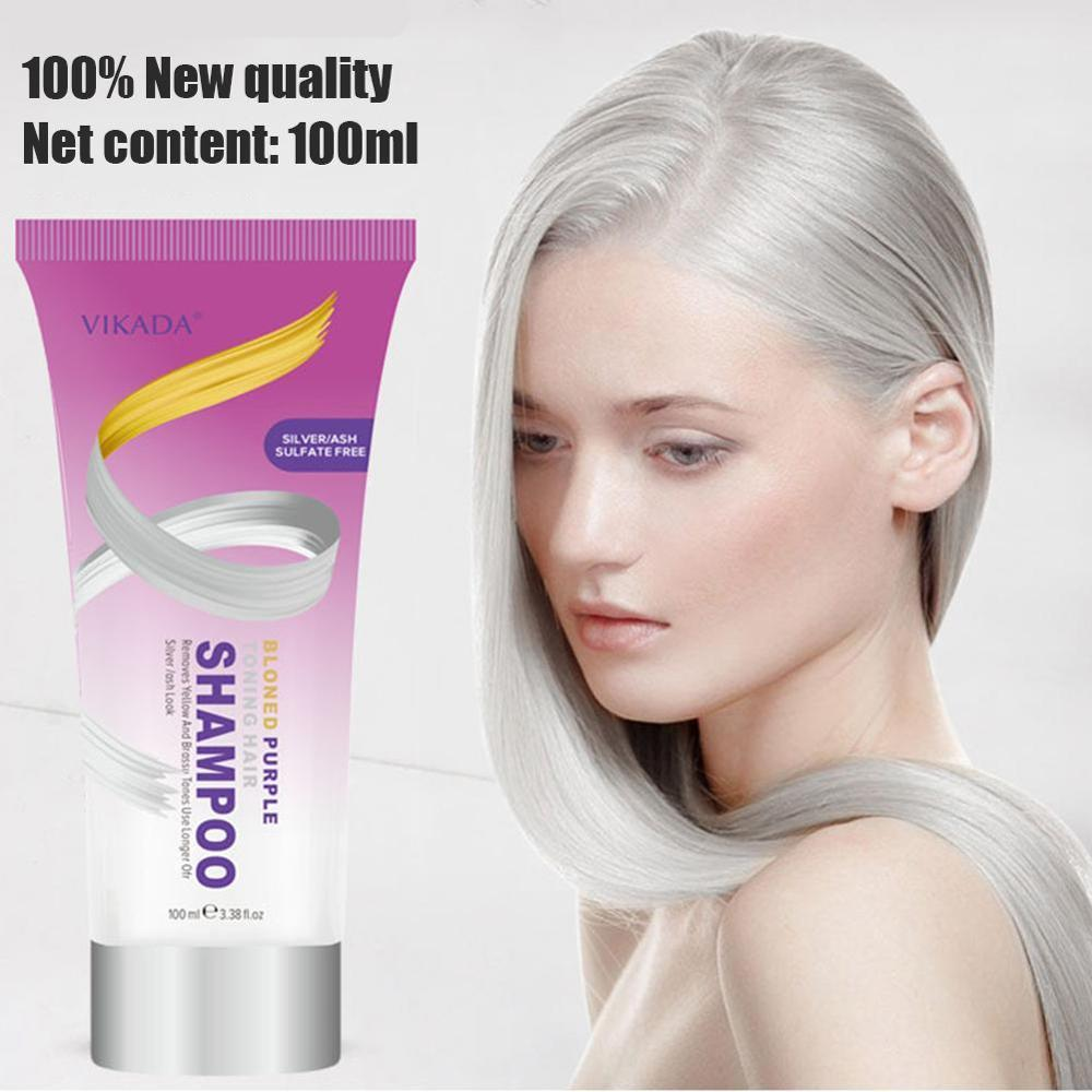 Hair Shampoo Remove Yellow Purple Toner To Silver Blonde Bleached Gray Hair Dye Remove Yellow image