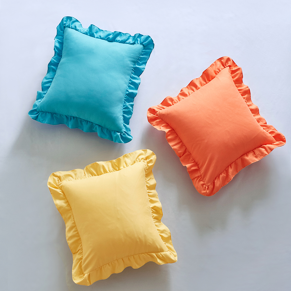 Solid Color Polyester Square Pillow Case Ruffle Decorative Seat Pillowcases Soft Throw Pillow Cover 45*45cm Pillow Case Home & Garden - title=