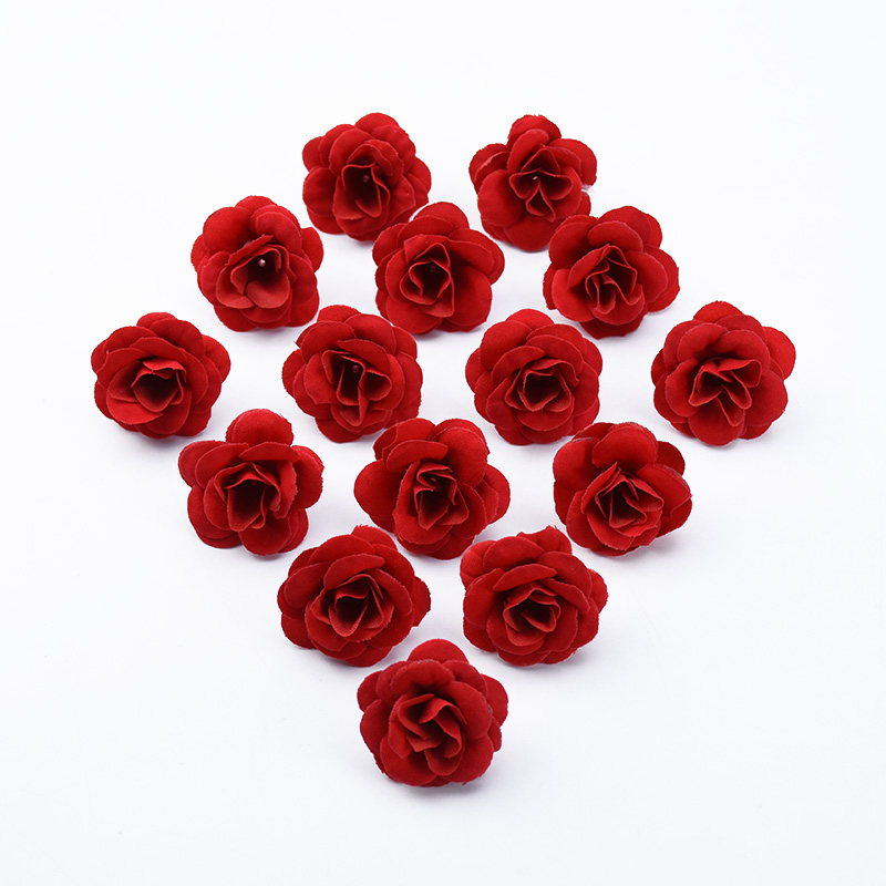 10pcs Silk Red Roses Head Christmas Decor For Home Scrapbook Wedding Bridal Accessories Clearance Diy Gifts Artificial Flowers