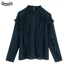 2019 shirt womens tops and blouses england office lady elegant cascading silk solid blouse women blusas mujer de moda