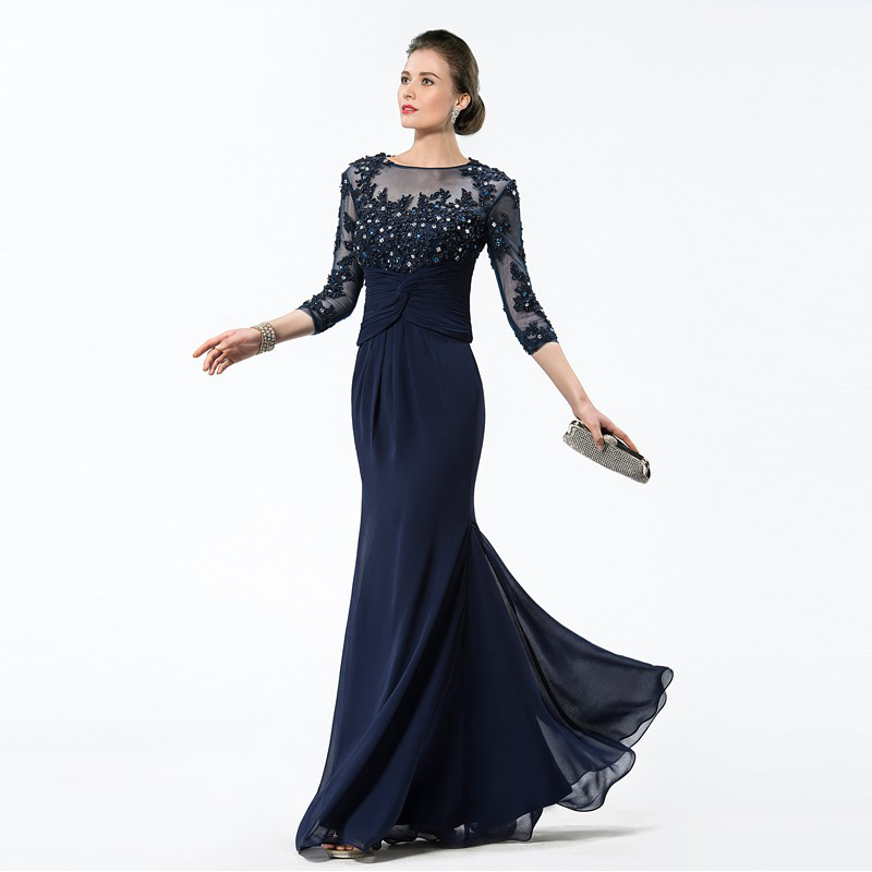 DressV Long Navy Blue Mother Of The Bride Dresses 2019 Chiffon Beaded Appliques Bodice Sheer 3/4 Sleeves Mothers Evening Dresses