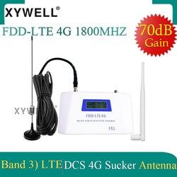 70 дБ усиления FDD LTE 1800 4G Мобильный усилитель сигнала повторитель 1800 МГц сотовый телефон сотовая связь GSM 1800 сотовый усилитель + присоска антен...