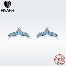 BISAER 925 Sterling Silver Blue Cubic Zirconia Mermaid Stud Earrings for Women Fashion Jewelry Girl Tiny Birncos GAE058 bisaer stud earrings real 925 sterling silver star shape long earrings for women clear cubic zirconia fashion jewelry hve154