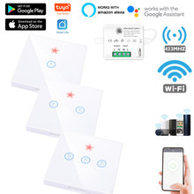 Mini Module intelligent sans fil tactile interrupteur lumière 433MHZ électrique maison 1-3Gang télécommande verre écran panneau mural sur Off 220V