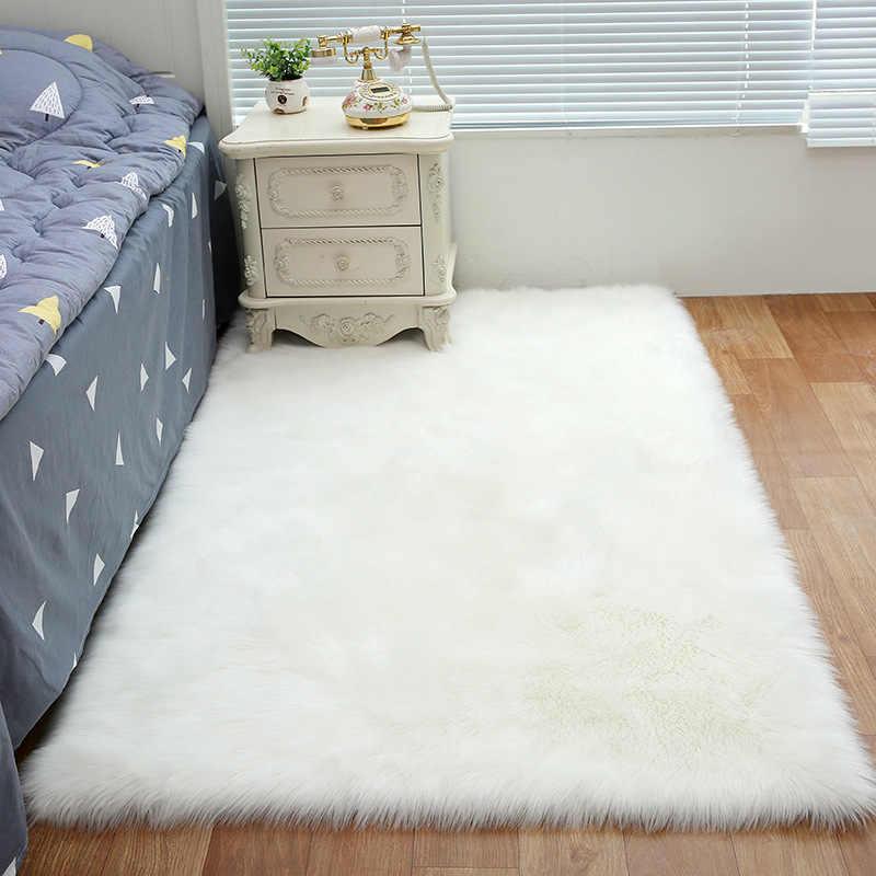 Прямоугольный искусственный шерстяной ковер, удобный Пушистый Ковер для спальни, гостиной, нескользящий напольный ковер, стул, диван, мягкий коврик