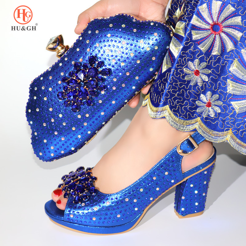 Royal Blue Shoe and Bag Set Women African High Heel Pumps Italian Design Shoes with Matching Bag Set Decorated with Rhinestones