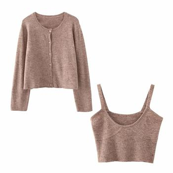 ZA 2020 spring new women's solid khaki cardigan knitted sweater Casual two pieces set fashion streetwear sexy female tops 2