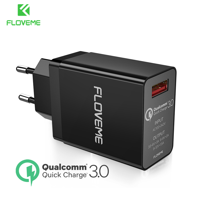 FLOVEME 18W Quick <font><b>Charger</b></font> <font><b>QC3.0</b></font> 3A <font><b>USB</b></font> Phone <font><b>Charger</b></font> EU Plug For iPhone Samsung Xiaomi Travel Wall Fast <font><b>Charger</b></font> <font><b>Charger</b></font> Adapter image