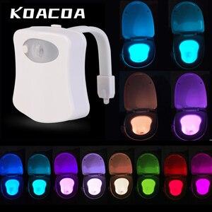Image 1 - Умный ночной Светильник для сиденья унитаза с датчиком движения, 8 цветов, водонепроницаемый светильник с подсветкой для унитаза, светодиодная лампа Luminaria, туалетный светильник