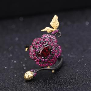 Image 3 - GEMS BALLET 925 Sterling Silver 1.00Ct Natural Rhodolite Garnet Rose Flower Open Ring Handmade Adjustable Ring for Women Bijoux