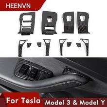 Heenv n – panneau de commande de fenêtre de voiture, garniture de bouton de couverture pour Tesla Model 3 2021, accessoires en Fiber de carbone ABS pour Tesla Model Y