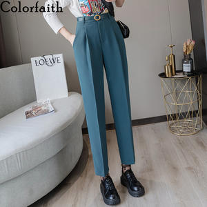 Colorfaith New 2019 Spring Winter Women Pants High Waist Loose Formal Elegant Office Lady Ankle-Length With Belt Pants P7223