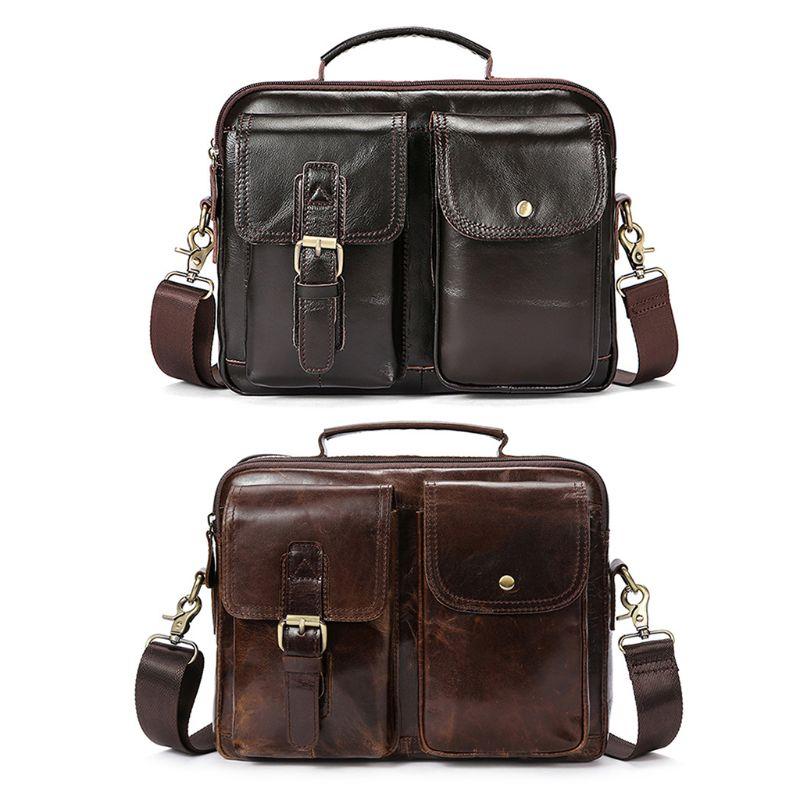 Vintage Men/'s Leather Casual Messenger Bag Cross-body Tote Handbag Shoulder Bag