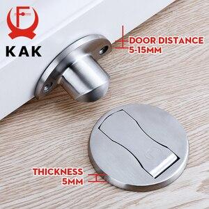 Image 2 - KAK Magnetic Door Stops 304 Stainless Steel Door Stopper Hidden Door Holders Catch Floor Nail free Doorstop Furniture Hardware
